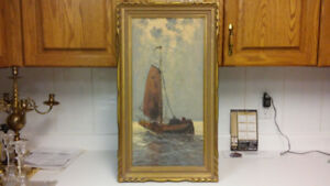 Antique D.Storm seascape oil painting