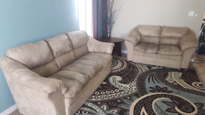 3 pc living room set tan colored microsuede