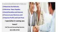 TAX PROBLEMS? BOOKKEEPING BY A PROFESSIONAL SAVES YOU TAXES!!