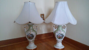 Antique George Martha Washington Table Lamps.