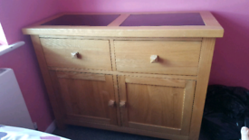 Oak Sideboard with black glass on top