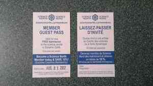 Science North or Dynamic Earth Passes - Lot of 4 or 8