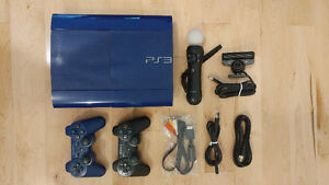 PS3 BLUE + 21 games+ 2 controllers + camera + 1 move