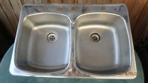 Kitchen sink, double, stainless-steel