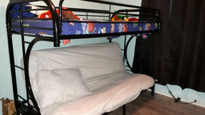 STILL AVAILABLE!! steel black frame bunk bed futon with mattress