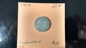 1919 Newfoundland 25 cent pieces