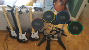 Complete rockband 1 and 2 and singstar includes all instruments!