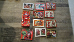 11 Coca-Cola Christmas Playing Cards sets in Tins