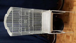 White bird cage with stand
