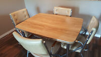Wooden-Top Dining Table With 4 Set Cushion Chairs