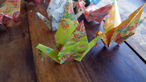 Hand folded Origami Cranes for garland, or ornaments London Ontario image 3