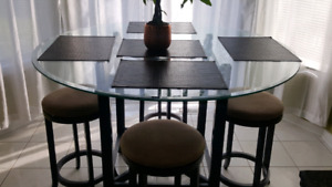 Sofa , dinning table buffet combo , breakfast table and crib .