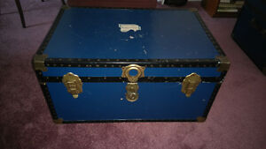 Three Vintage Steamer Trunk – Blue & Black Exterior