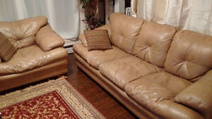 Beige Leather Couch + chair Kitchener / Waterloo Kitchener Area image 1