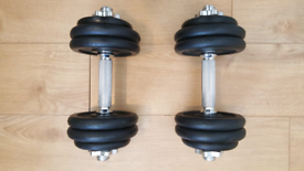 Price Negotiable 2x15 kg Dumbbells set Weight Plates Bars