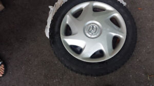 4 X MAZDA 3 WINTER TIRES WITH RIMS &;ORIGINAL HUBCAPS PRICE$500