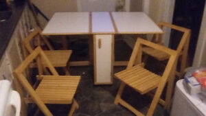 Fold up wooden table and chair set