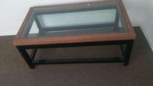 BEAUTIFUL SOLID WOODEN FRAME WITH WICKER LOOK TRIM/AND 1/2 GLASS