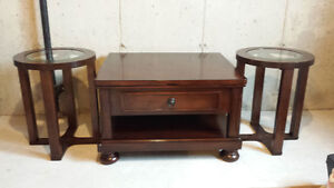 Like New Dark Oak Solid Wood Coffee and End Tables, 2 years old St. John's Newfoundland image 1