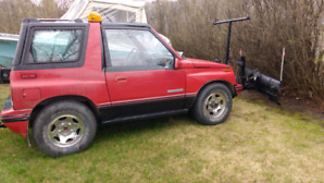 Tracker Geo 1990 2 dr 4x4 convertible with snow plow!