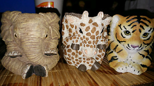 Elephant. Girraffe. Tiger candle holders