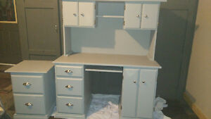 Wood desk and filing cabinet