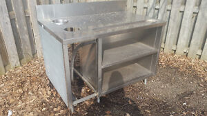 Server Station Stainless Steel Work Table w/ Drain NO SINK/TAP