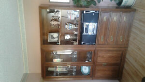 Walnut China Cabinet and Bookcase