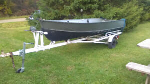 14' boat motor and trailer