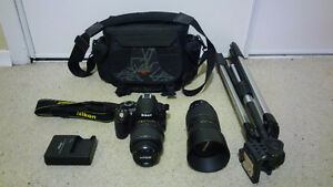 Nikon D3100, 2lenses Nikon18-55+Tamron70-300,bag, travel tripod