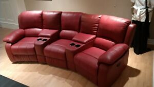 Leather Theatre Sectional Coach - Mint Condition
