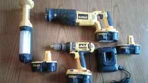 18 volt Dewalt hammer drill, Sawzall, working light.