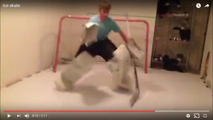 Artificial ice and ball machine for goalie training