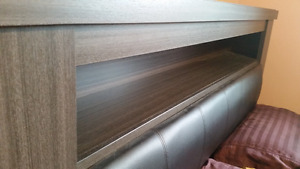 Dark wood and leather headboard queen size