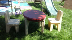 Plastic table and 2 chairs for children