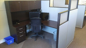 Office desks, chairs, monitors, filing cabinets