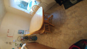 Wooden table with matching chairs