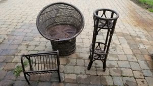 Chair,  plant stand and magazine rack
