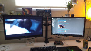 Two Monitors and Monitor Stand