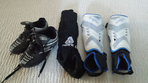 Soccer shoes, pads & socks