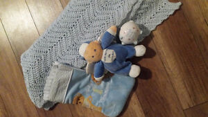 Baby boy stocking ,bank, blanket ,and teddy bear