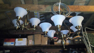 Gorgeous Solid Brass Chandeliers w/ Frosted Glass Shade Covers