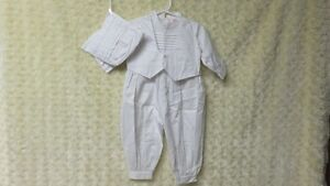 Baby Boy One Piece Christening Outfit & Hat White Size L