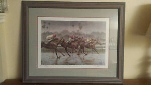 """Fred Stone Framed Print """"Riders On The Rain"""" & Triple Crown Bowl"""