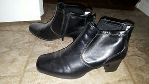 Black leather women's ankle boots