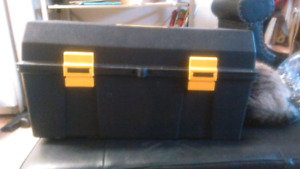 A black and yellow toolbox I am asking $20 OBO all prices always