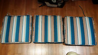 "BRAND NEW: Outdoor Patio Cushions (qty 3) 20.5"" x 20.5"""