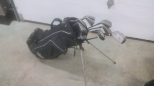 Full set of golf clubs and bag.