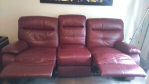 Divan cuir 3 places inclinable rouge