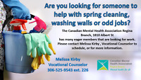 We can help with spring cleaning, washing walls, or odd jobs